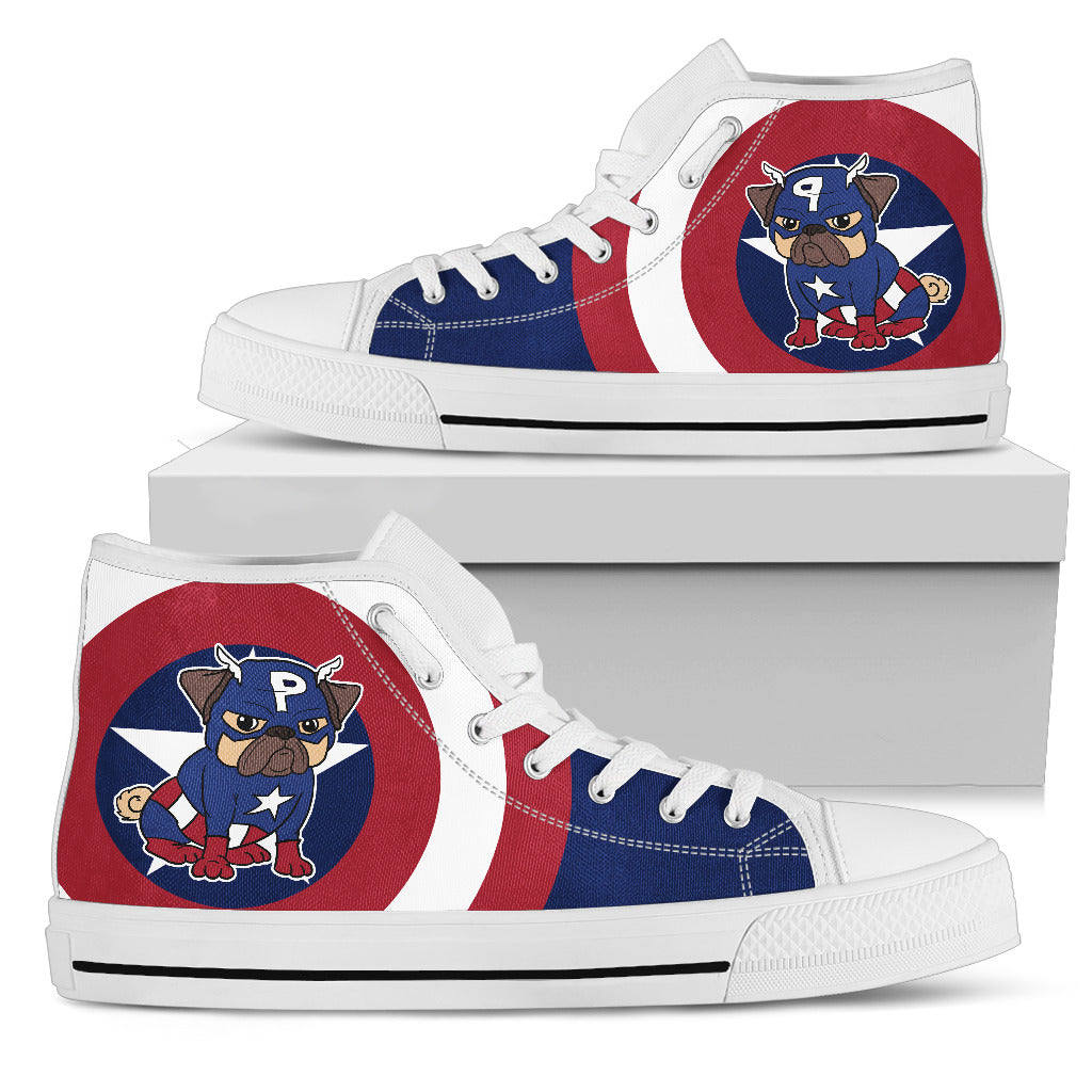 Funny Pug High Top Shoes Captain Pug 2