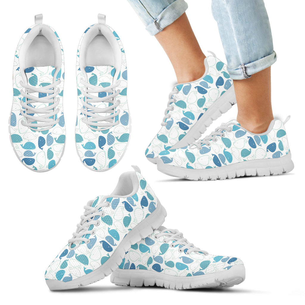Whale Blue White Cute Art Print Whale Adorable Cool Sneakers