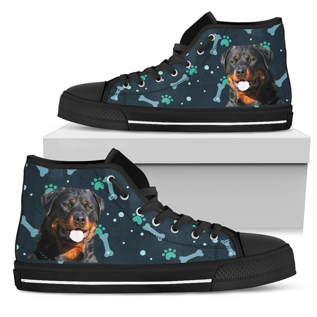 Bone Heart Pattern Rottweiler Dog Navy High Top Shoes
