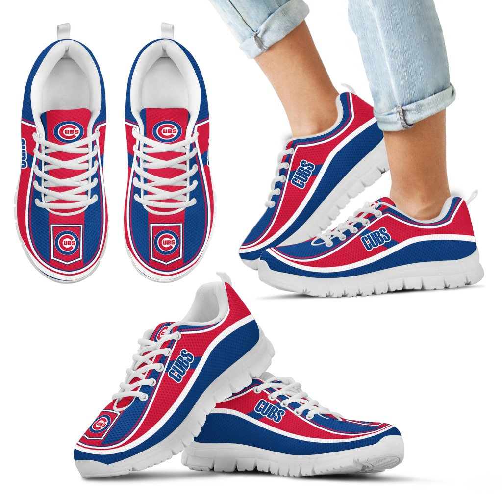 Simple Color Flag Chicago Cubs Sneakers