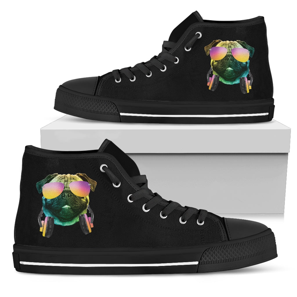 Dj Music Headphone Dog Pug High Top Shoes