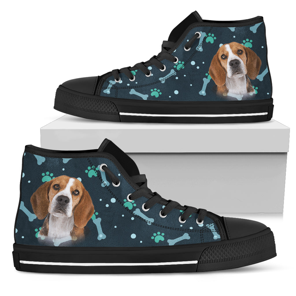 Bone Heart Pattern Beagle Dog Navy High Top Shoes