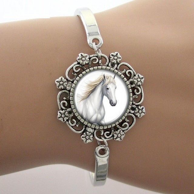 White Horse Art Photo Glass Dome Bracelets