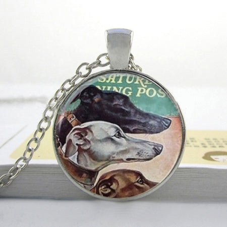 Vintage Greyhound Three Dog Glass Photo Necklaces