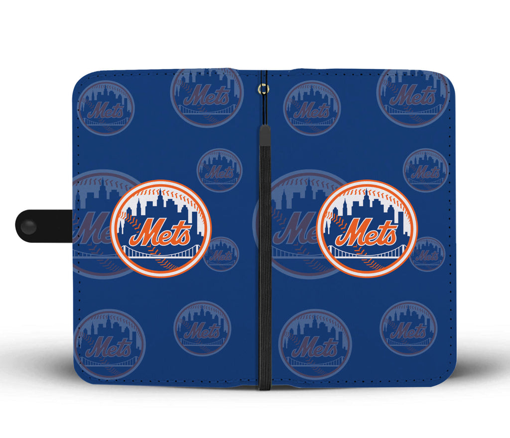 New York Mets Logo Background Wallet Phone Cases