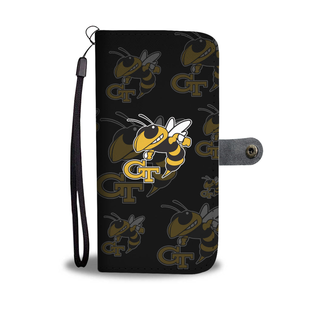 Georgia Tech Yellow Jackets Logo Background Wallet Phone Cases