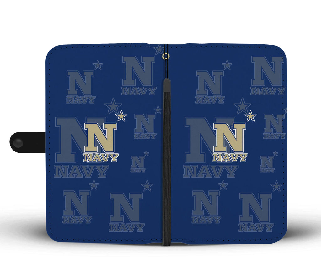 Navy Midshipmen Logo Background Wallet Phone Cases