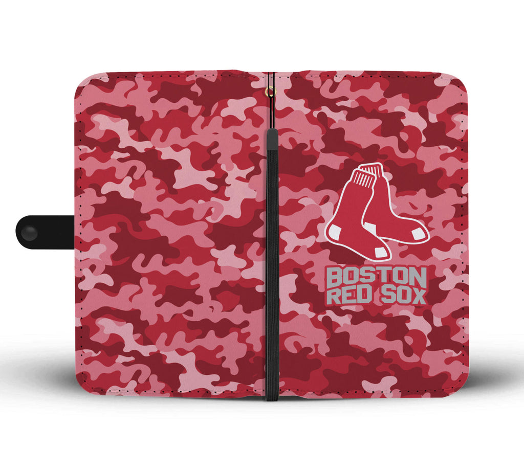 Gorgeous Camo Pattern Boston Red Sox Wallet Phone Cases