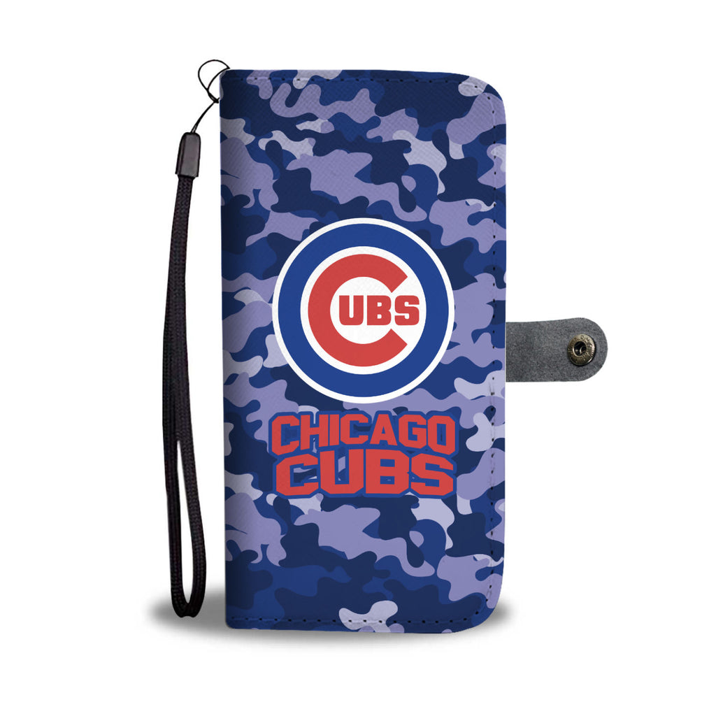 Gorgeous Camo Pattern Chicago Cubs Wallet Phone Cases