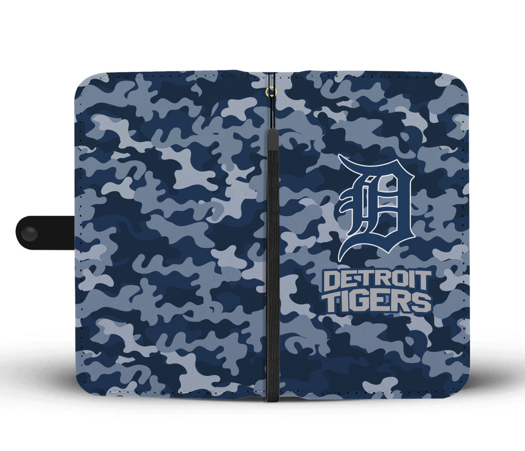 Gorgeous Camo Pattern Detroit Tigers Wallet Phone Cases