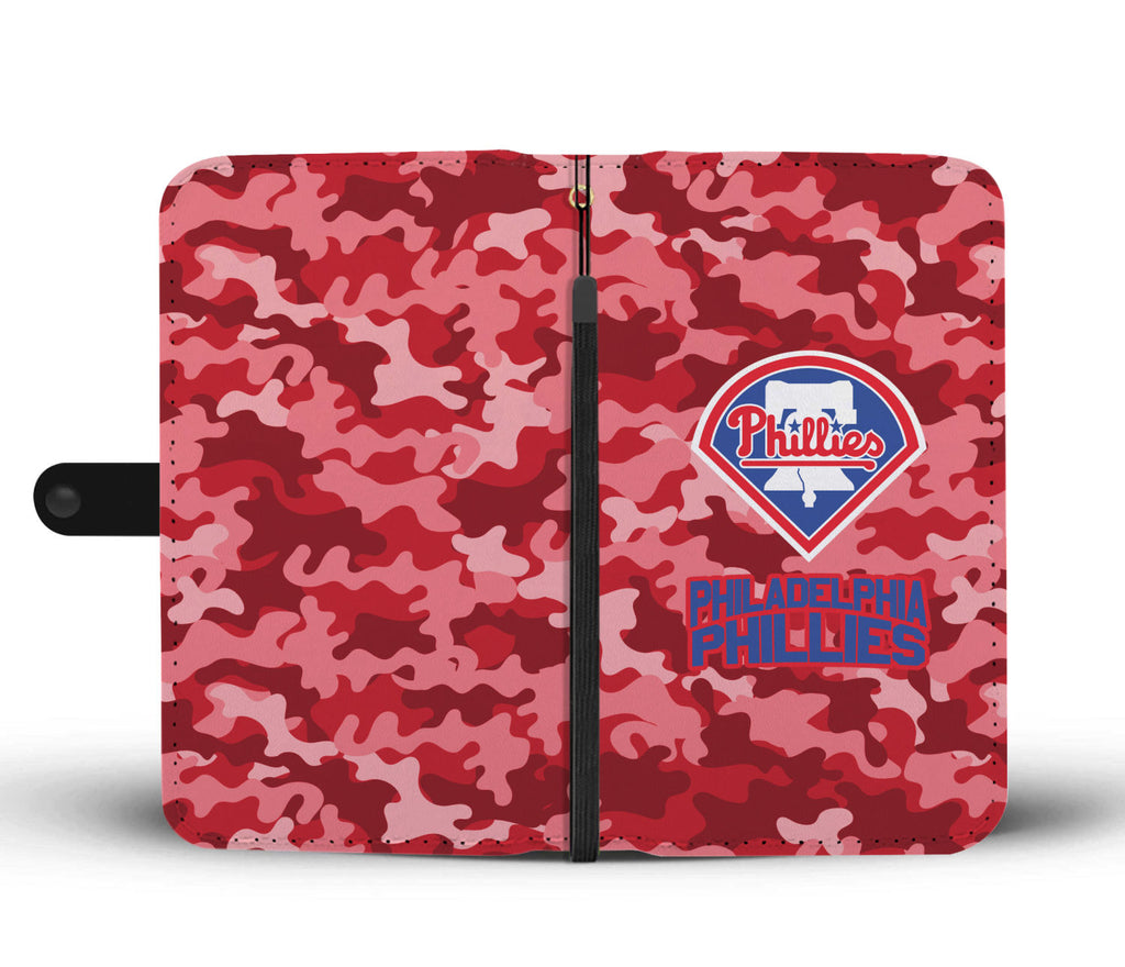 Gorgeous Camo Pattern Philadelphia Phillies Wallet Phone Cases