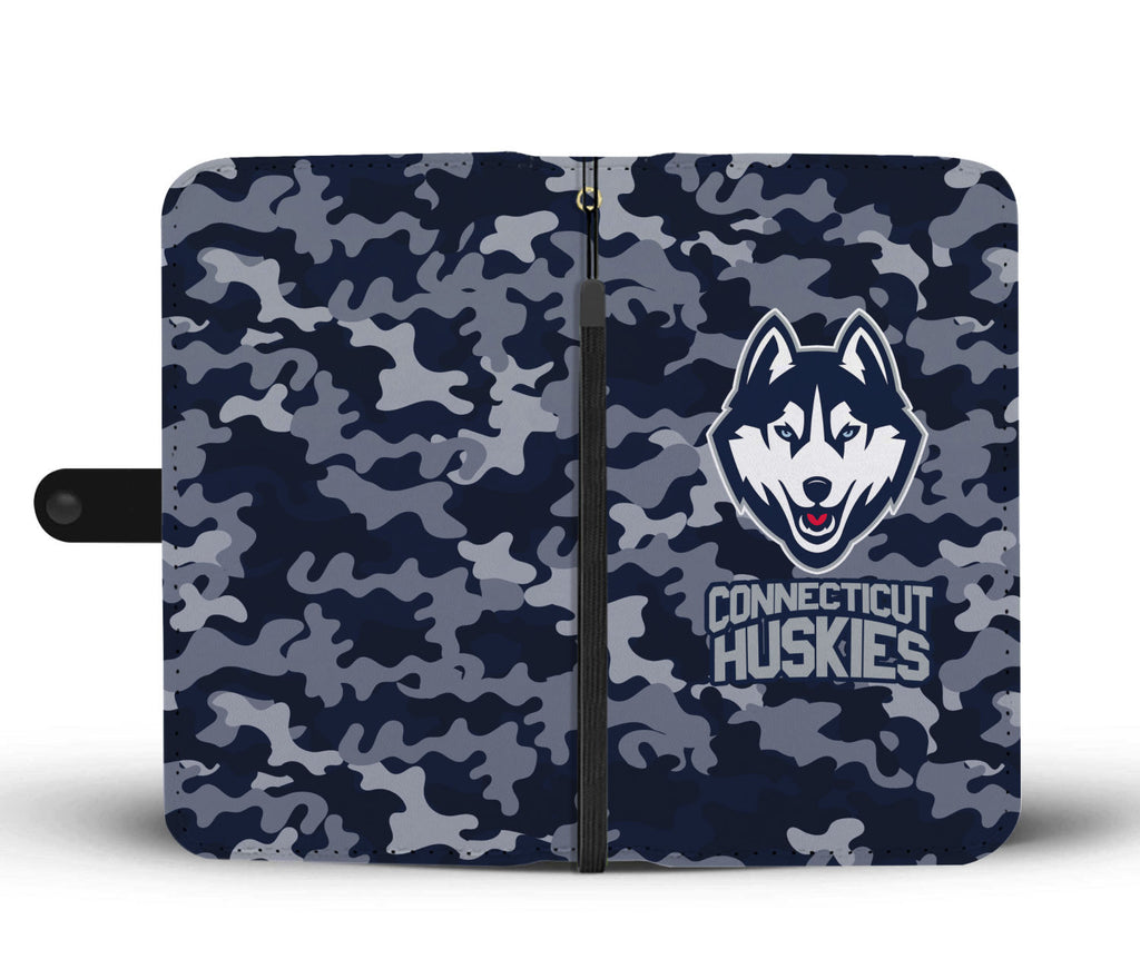 Gorgeous Camo Pattern Connecticut Huskies Wallet Phone Cases
