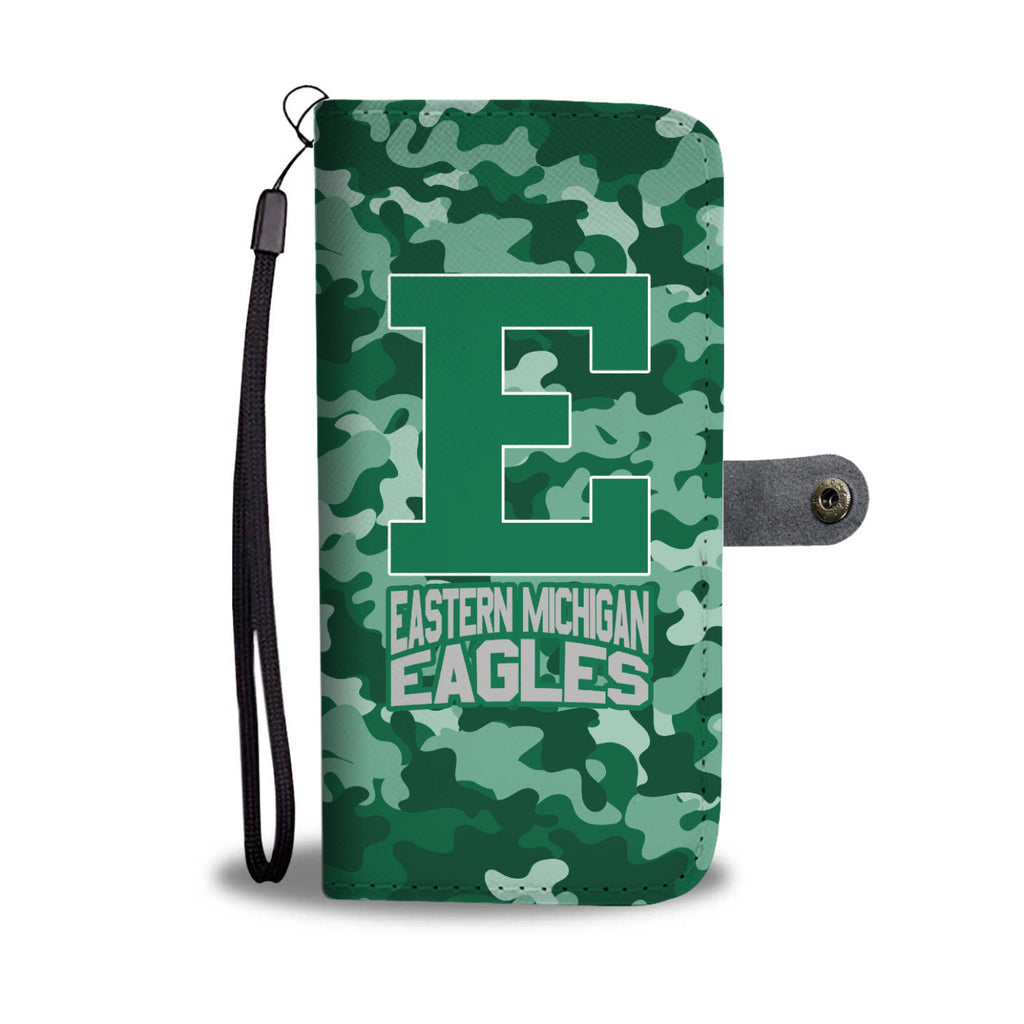 Gorgeous Camo Pattern Eastern Michigan Eagles Wallet Phone Cases
