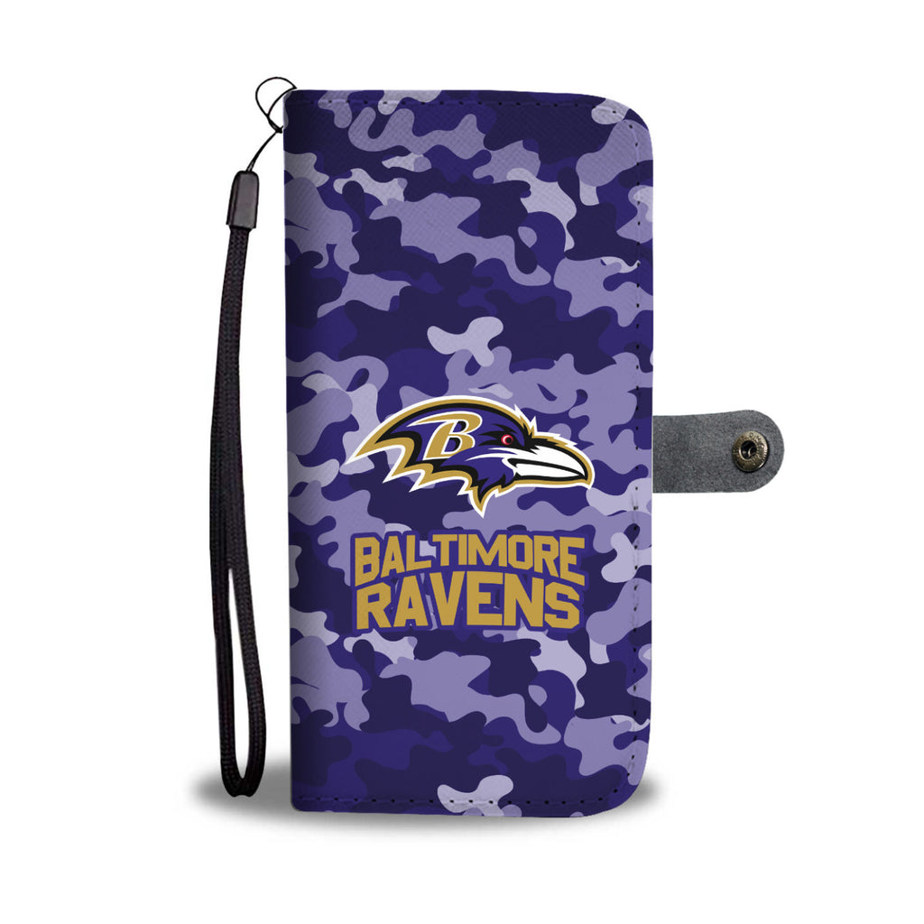 Gorgeous Camo Pattern Baltimore Ravens Wallet Phone Cases