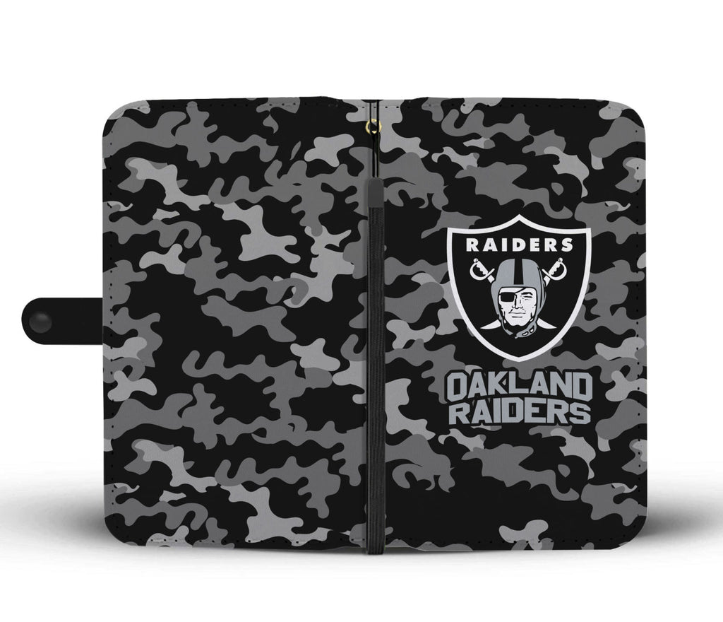 Gorgeous Camo Pattern Oakland Raiders Wallet Phone Cases