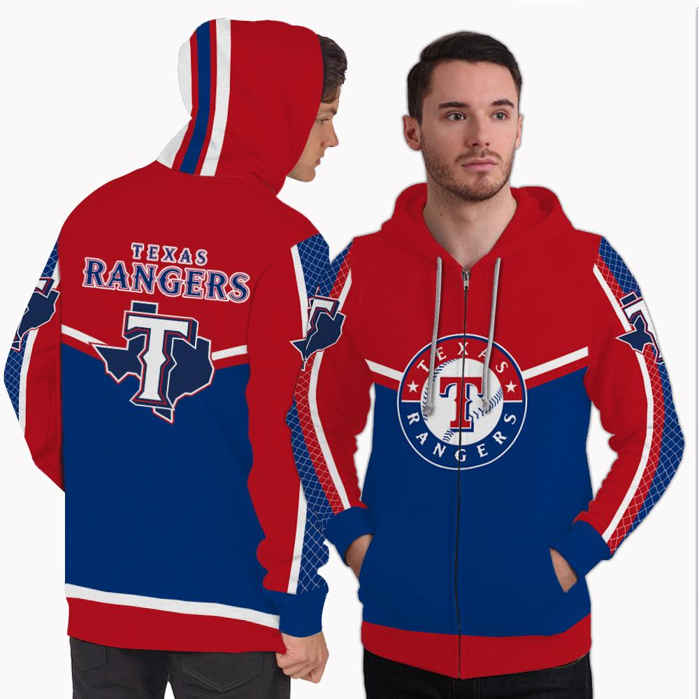 Strong Gorgeous Fitting Texas Rangers Zip Hoodie