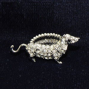 Silver Crystal Dachshund Dog Rings