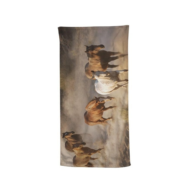 Horse Herd Grazing Running Towels