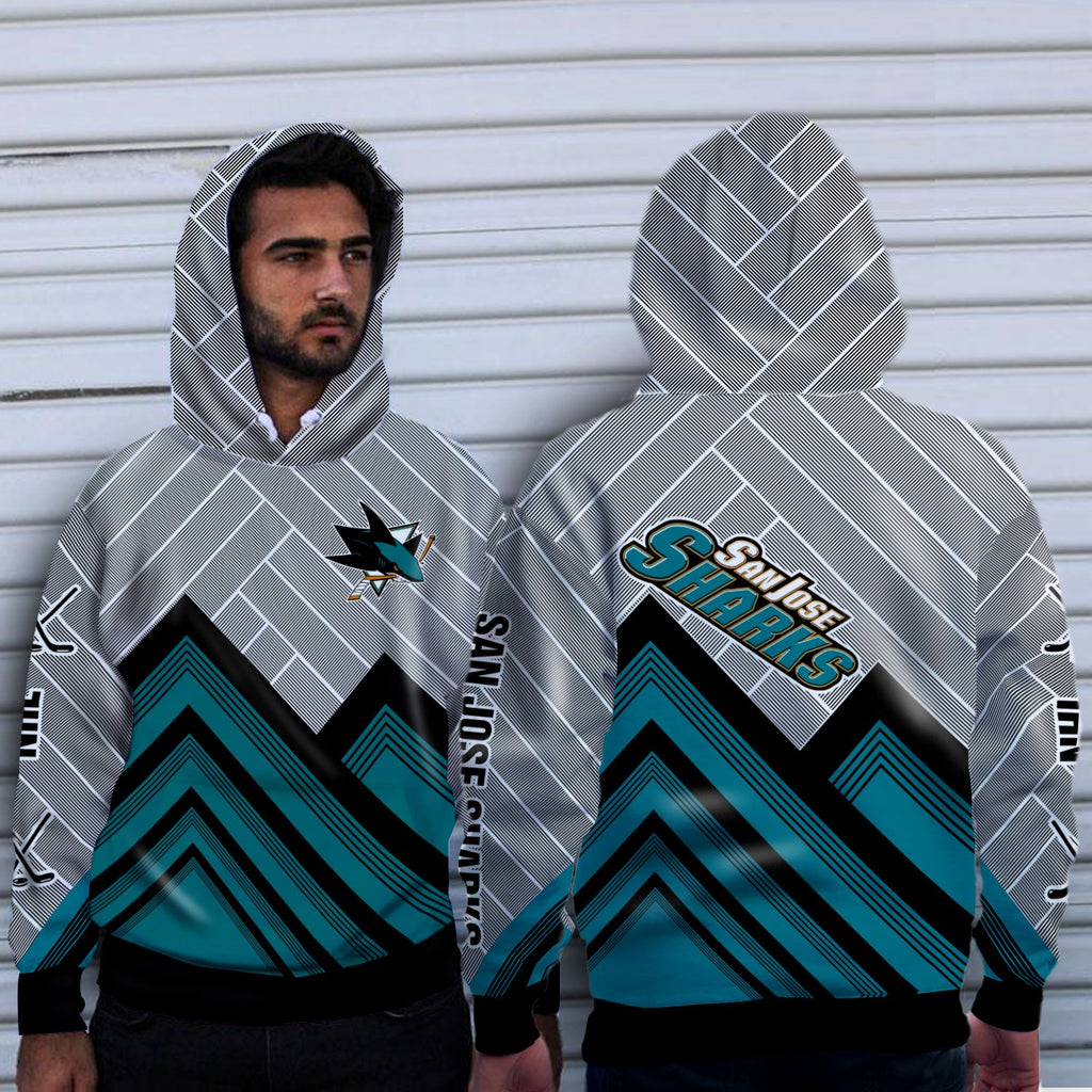 Simple Cross Line San Jose Sharks Hoodie