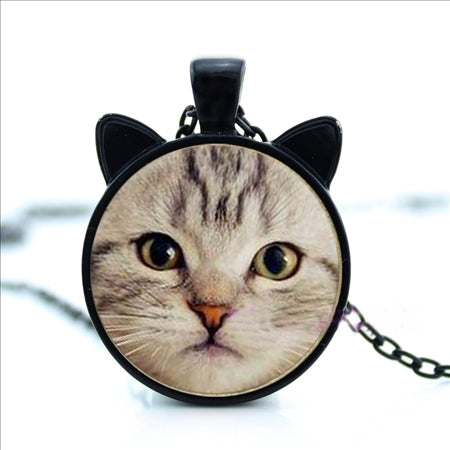 Cat Lover Glass Cabochon Necklaces
