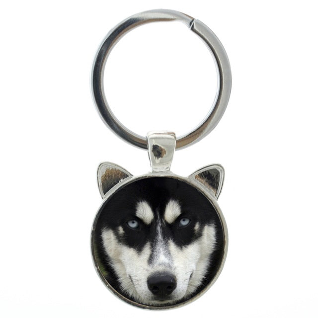 Siberian Husky Dog Head Keychains