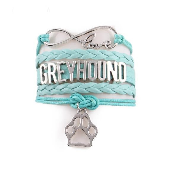Infinity Love Greyhound Dog Paw Leather Bracelets