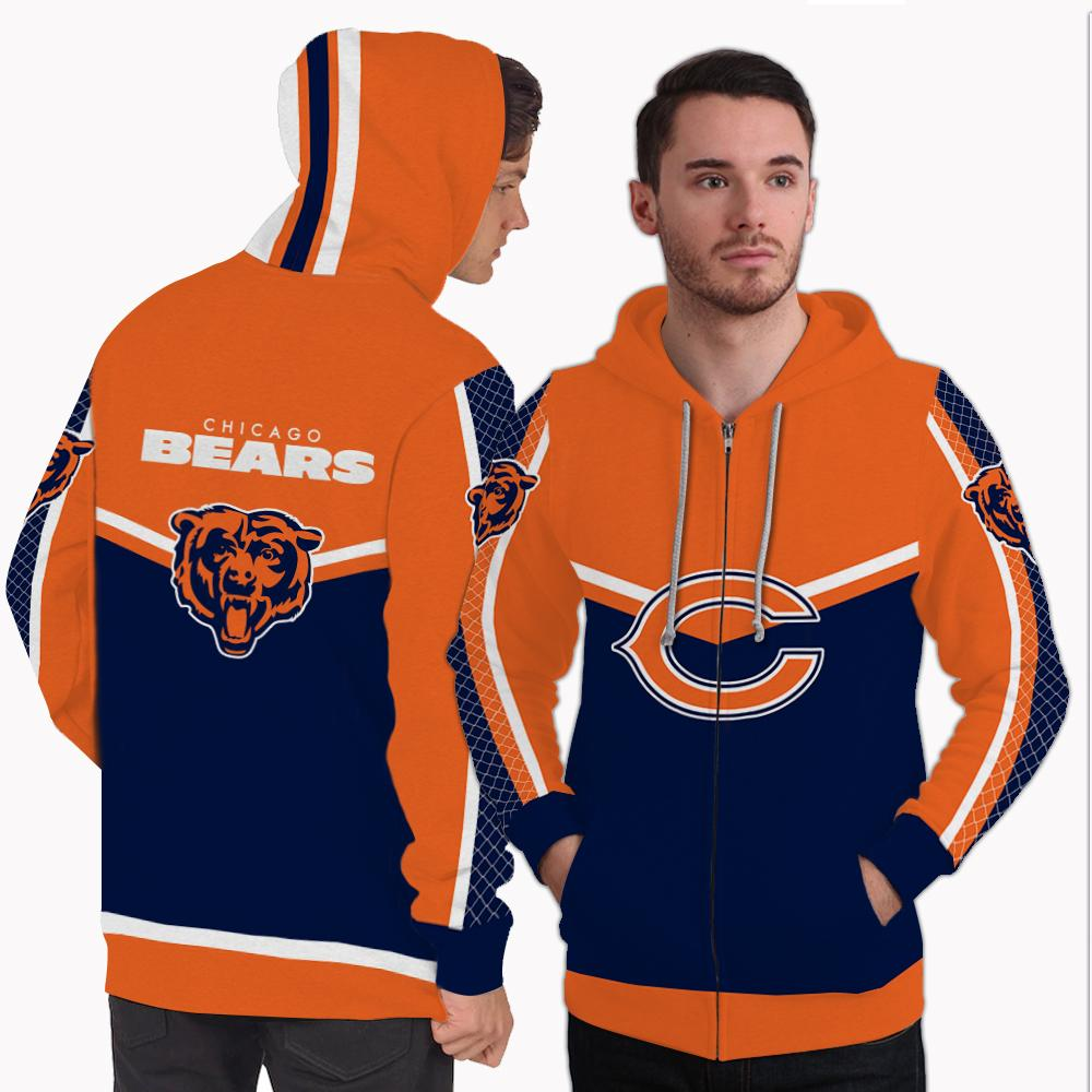 Strong Gorgeous Fitting Chicago Bears Zip Hoodie