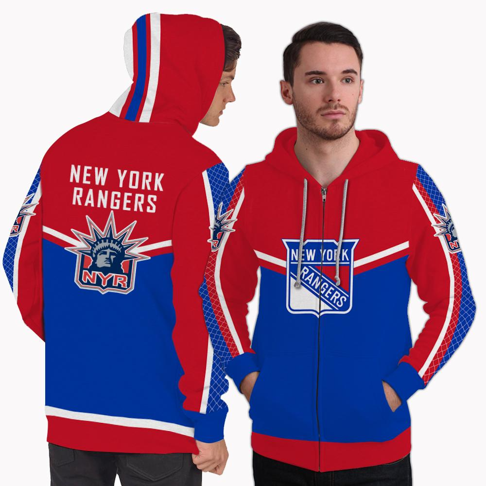 Strong Gorgeous Fitting New York Rangers Zip Hoodie
