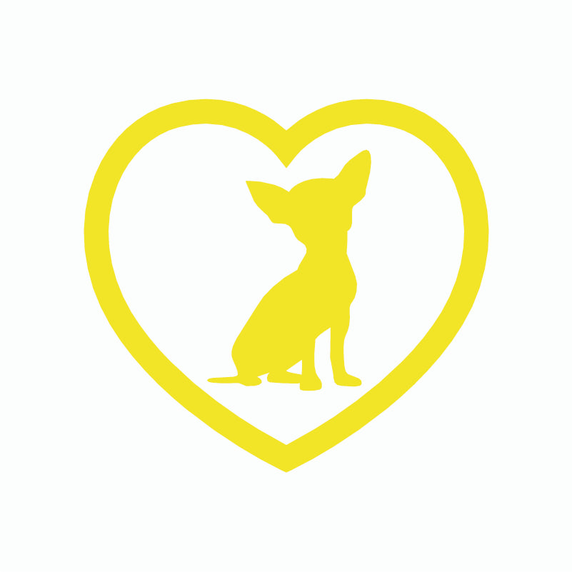 Cute Chihuahua Heart Dog Sitdown Stickers