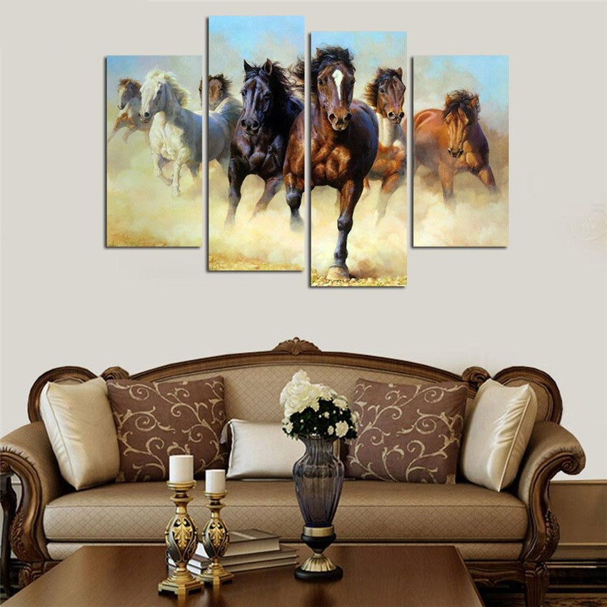 Horses Running Print Canvas Modern Wall Art Pictures 4 Panels Unframed