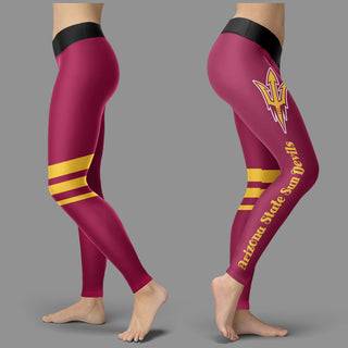Through Logo Spread Body Striped Circle Arizona State Sun Devils Leggings