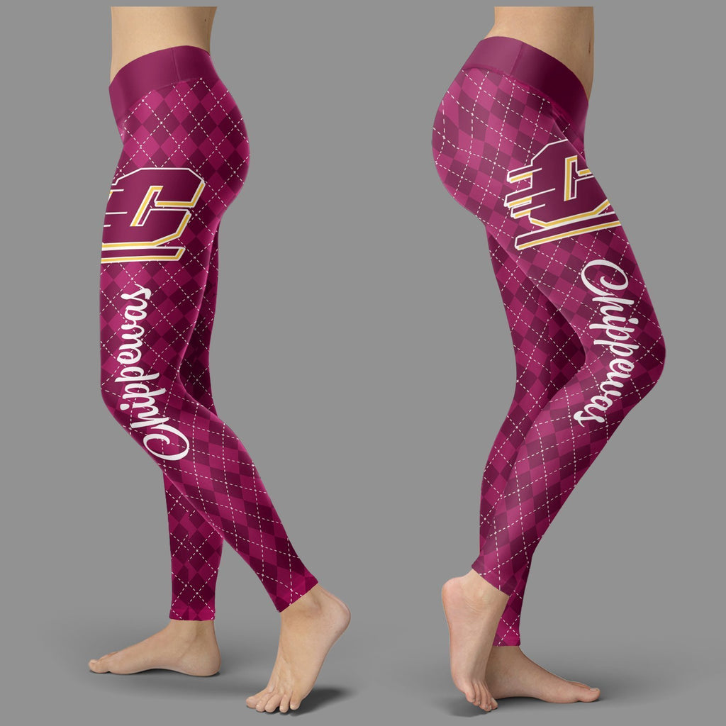 Cosy Seamless Colorful Central Michigan Chippewas Leggings