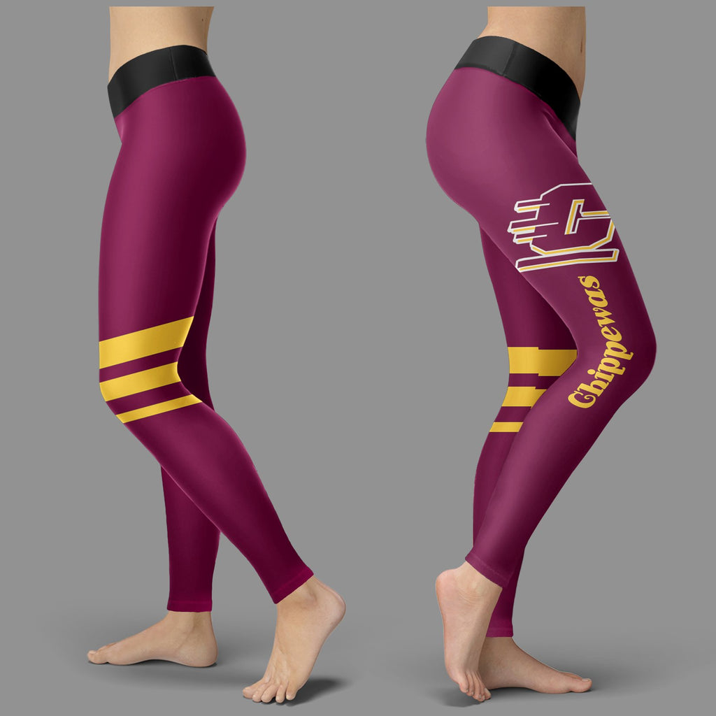 Through Logo Spread Body Striped Circle Central Michigan Chippewas Leggings