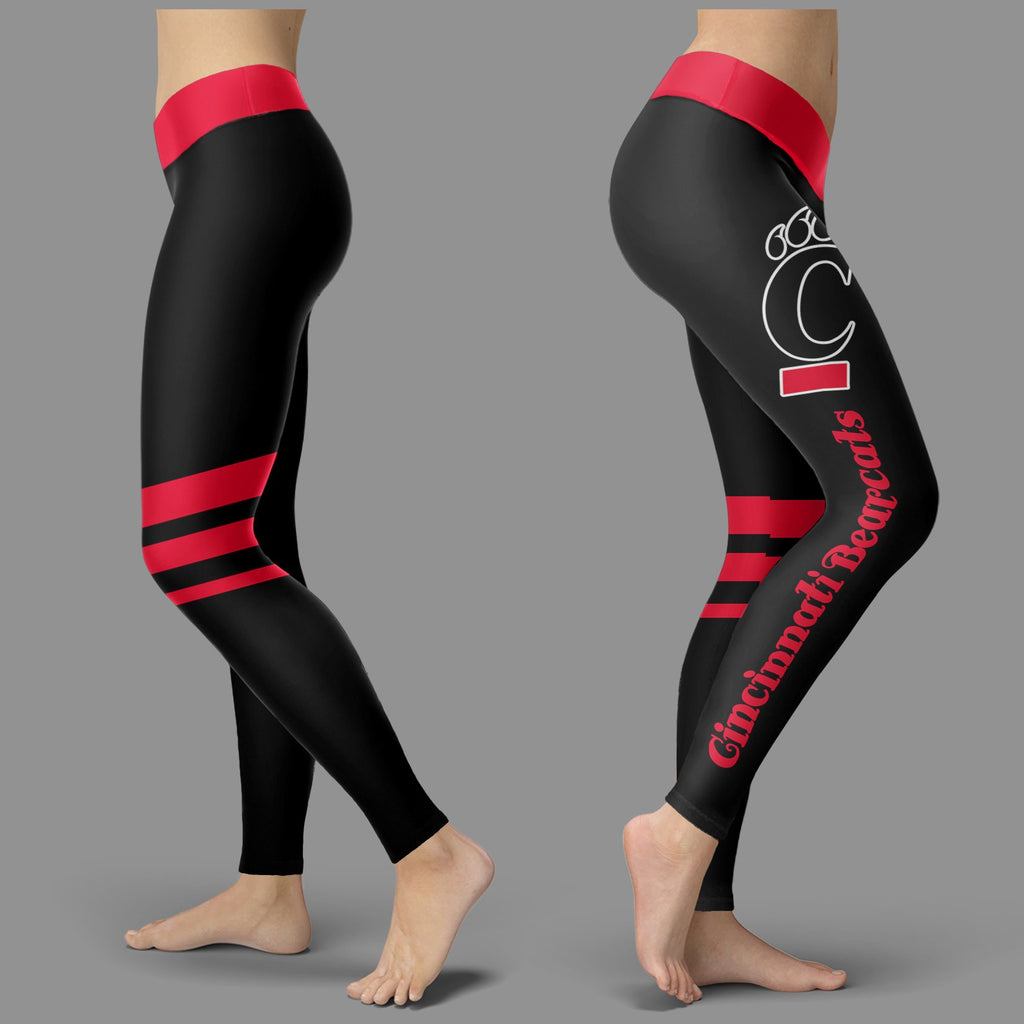 Through Logo Spread Body Striped Circle Cincinnati Bearcats Leggings