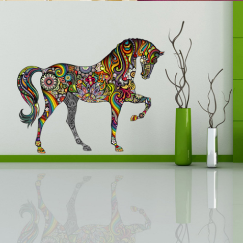Colorful Flower Pattern Horse Wall Stickers