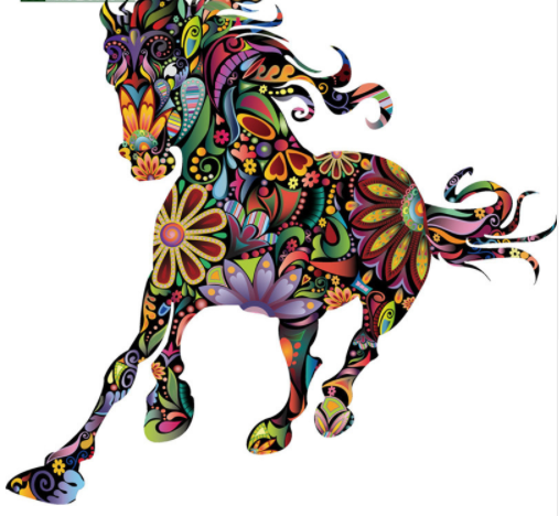 Colorful Flower Pattern Running Horse Wall Stickers