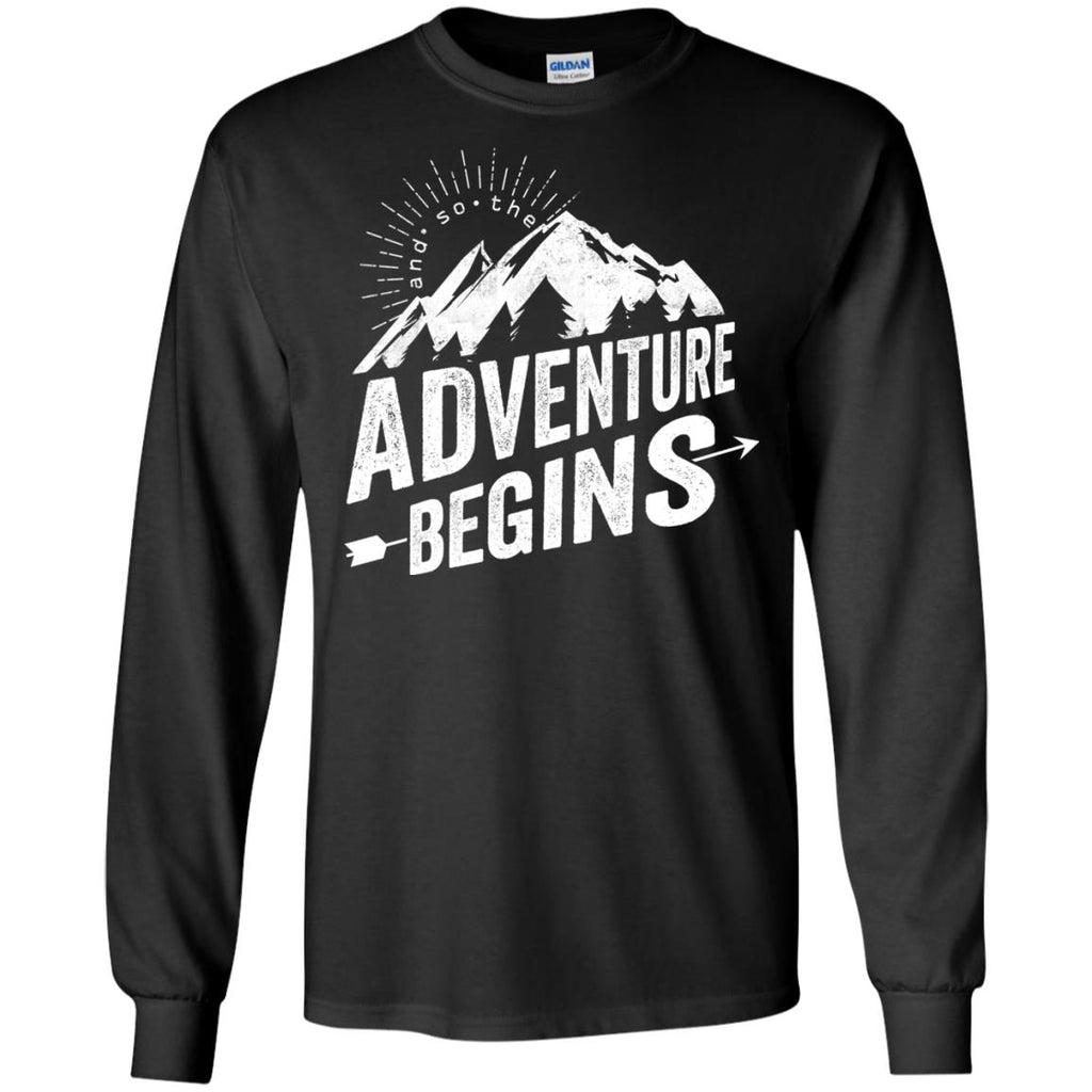 Funny Camping Tee Shirt. And so... the adventure begins for camper gift