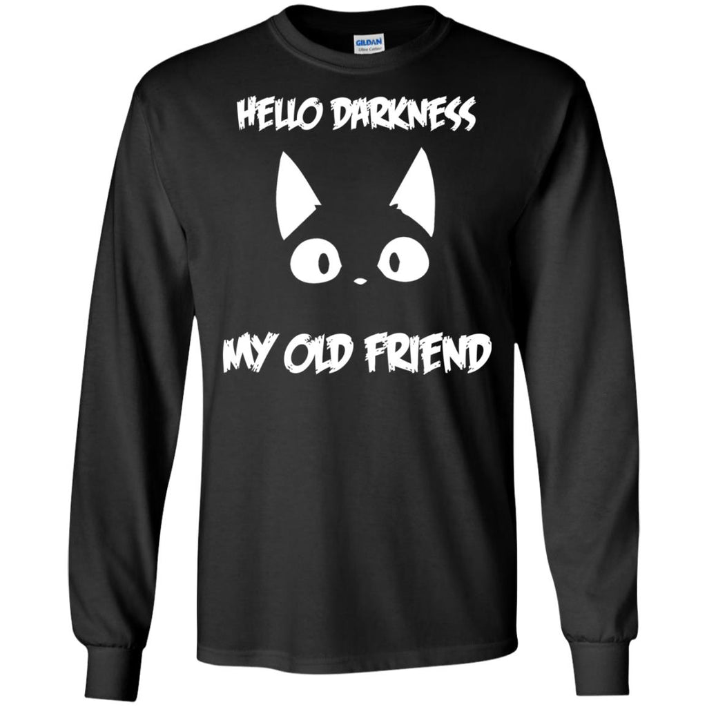 Hello Darkness My Old Friend In Cat Teeshirt For Kitten Lover