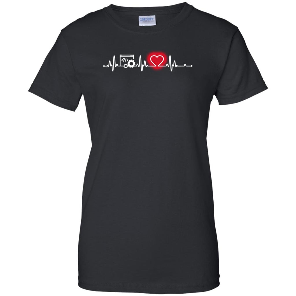 Heart Beat Red Programer Tshirt For Lover