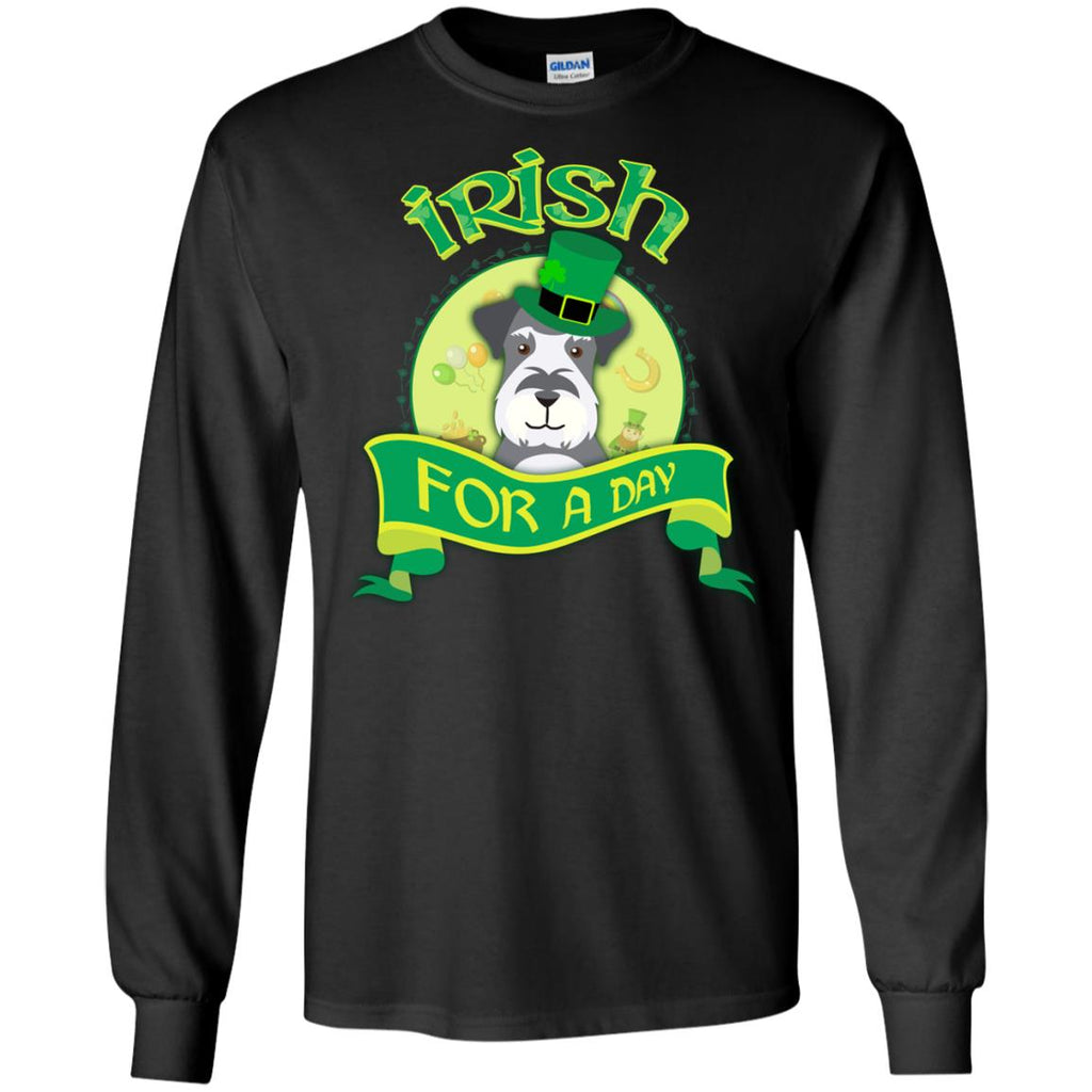 Schnauzer Tshirt Irish For A Day St. Patrick's Day Miniature Dog Gift