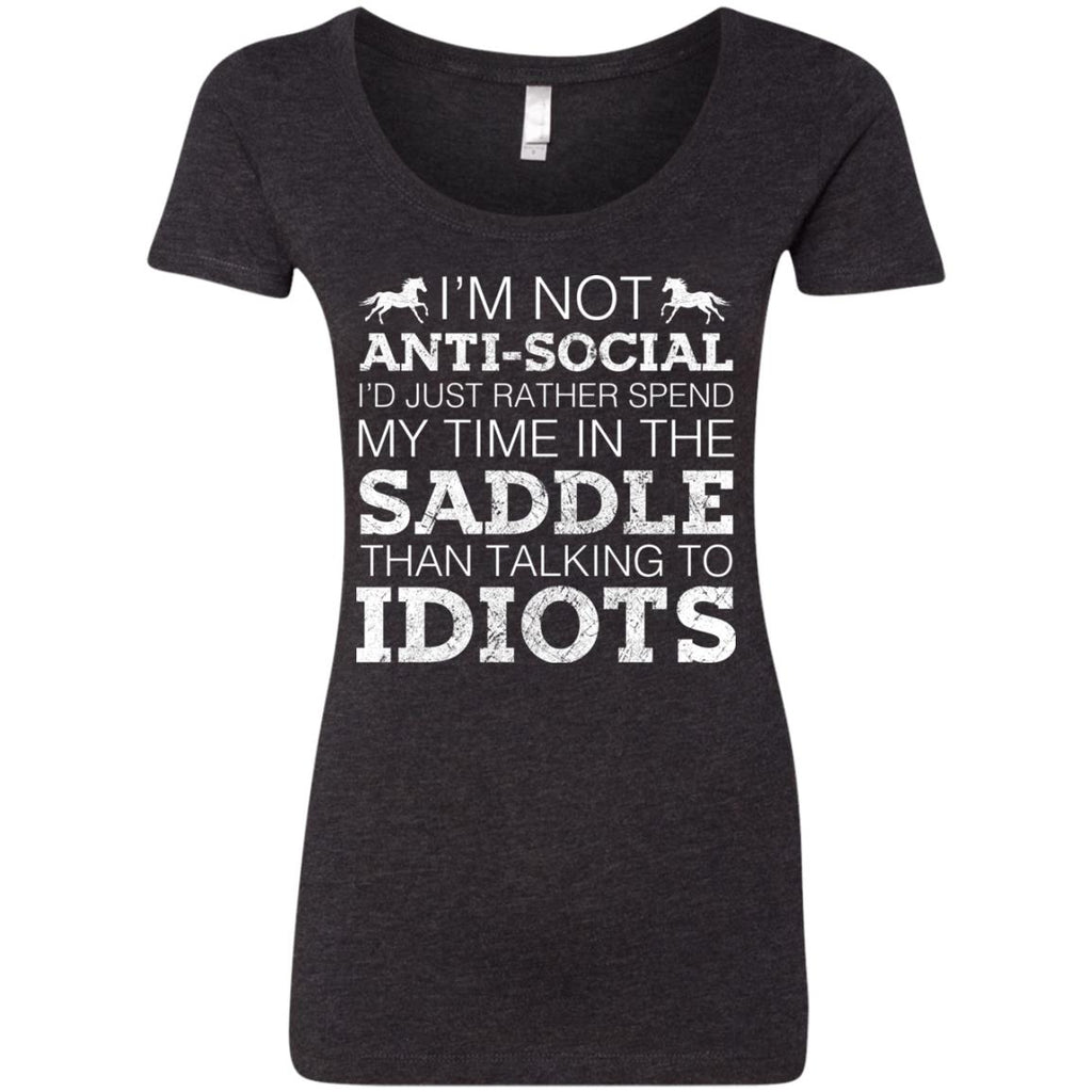 I'm Not Anti-Social Horse Tshirt For Equestrian Gift