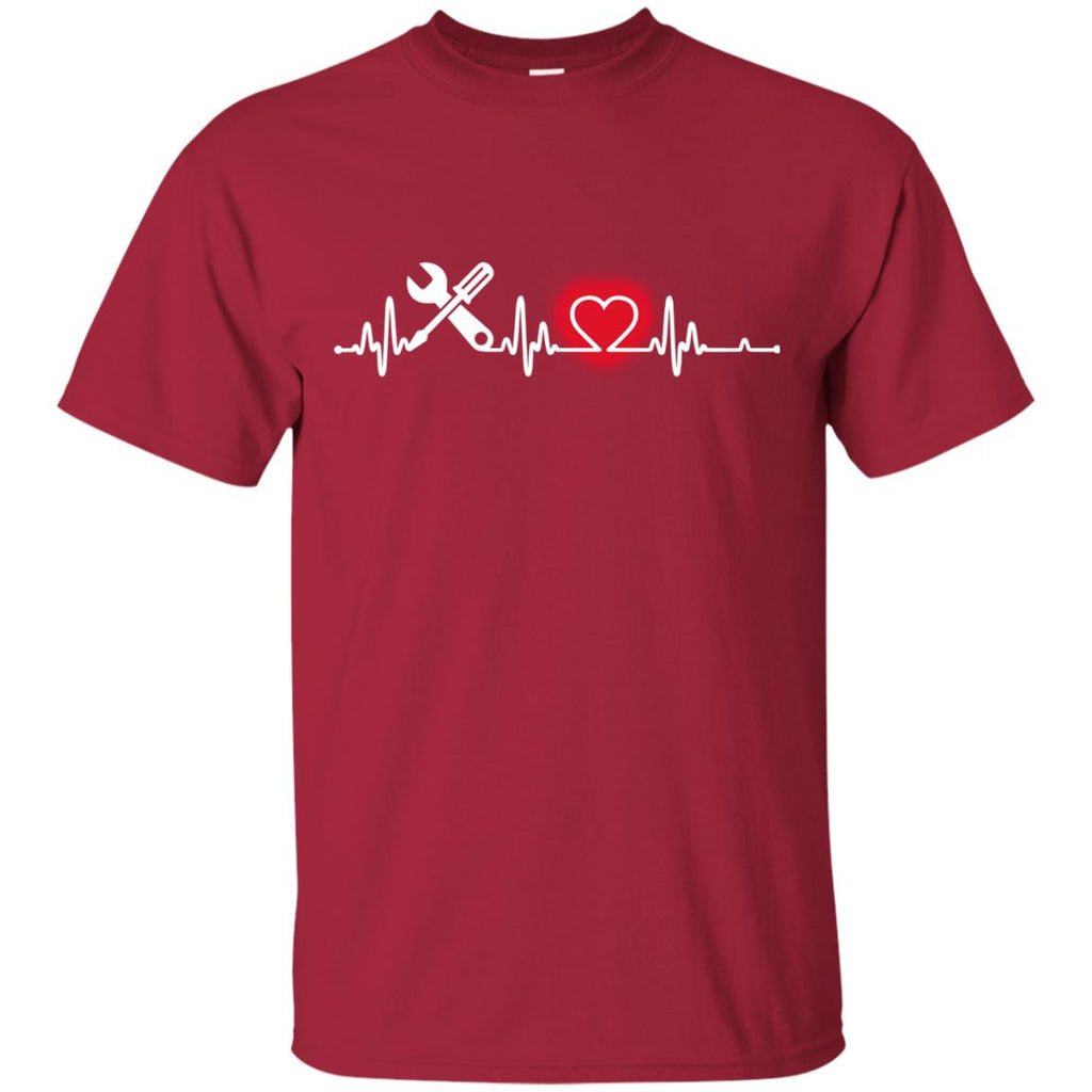 Heart Beat Red Engineer Technician Tshirt For Lover