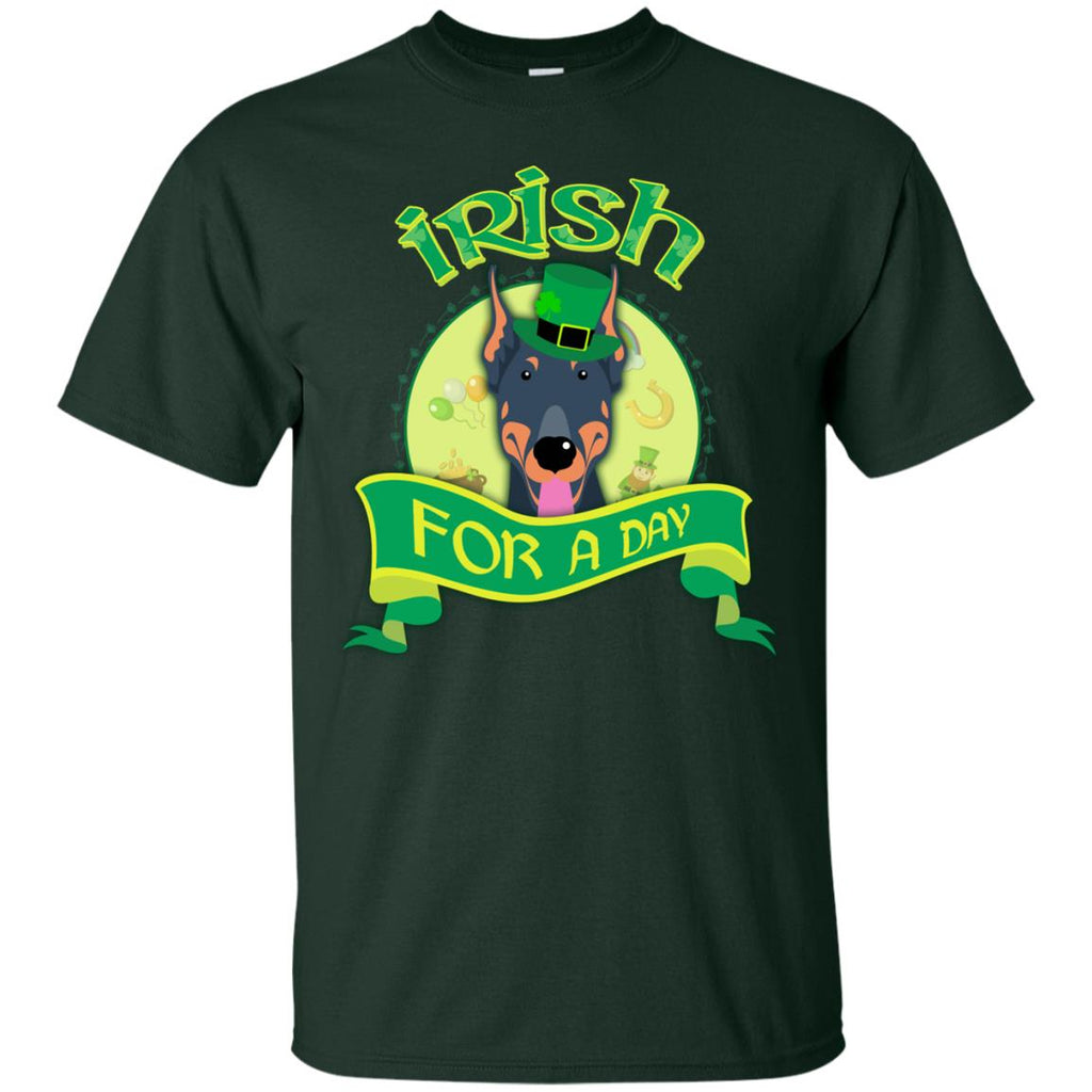 Funny Dobermann Dog Shirt Irish For A Day St Patrick's Day Gift