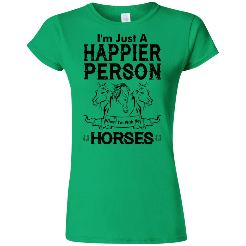 When I Am With My Horse White T Shirts