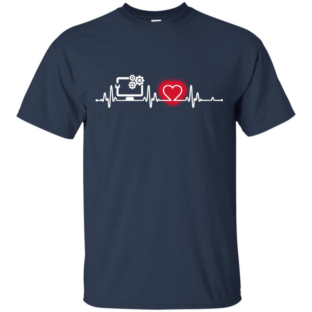 Heart Beat Red Computer Support Specialist T Shirts