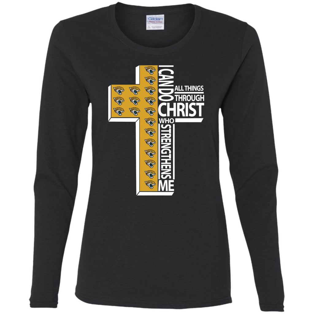 Gorgeous I Can Do All Things Through Christ Jacksonville Jaguars T Shirts