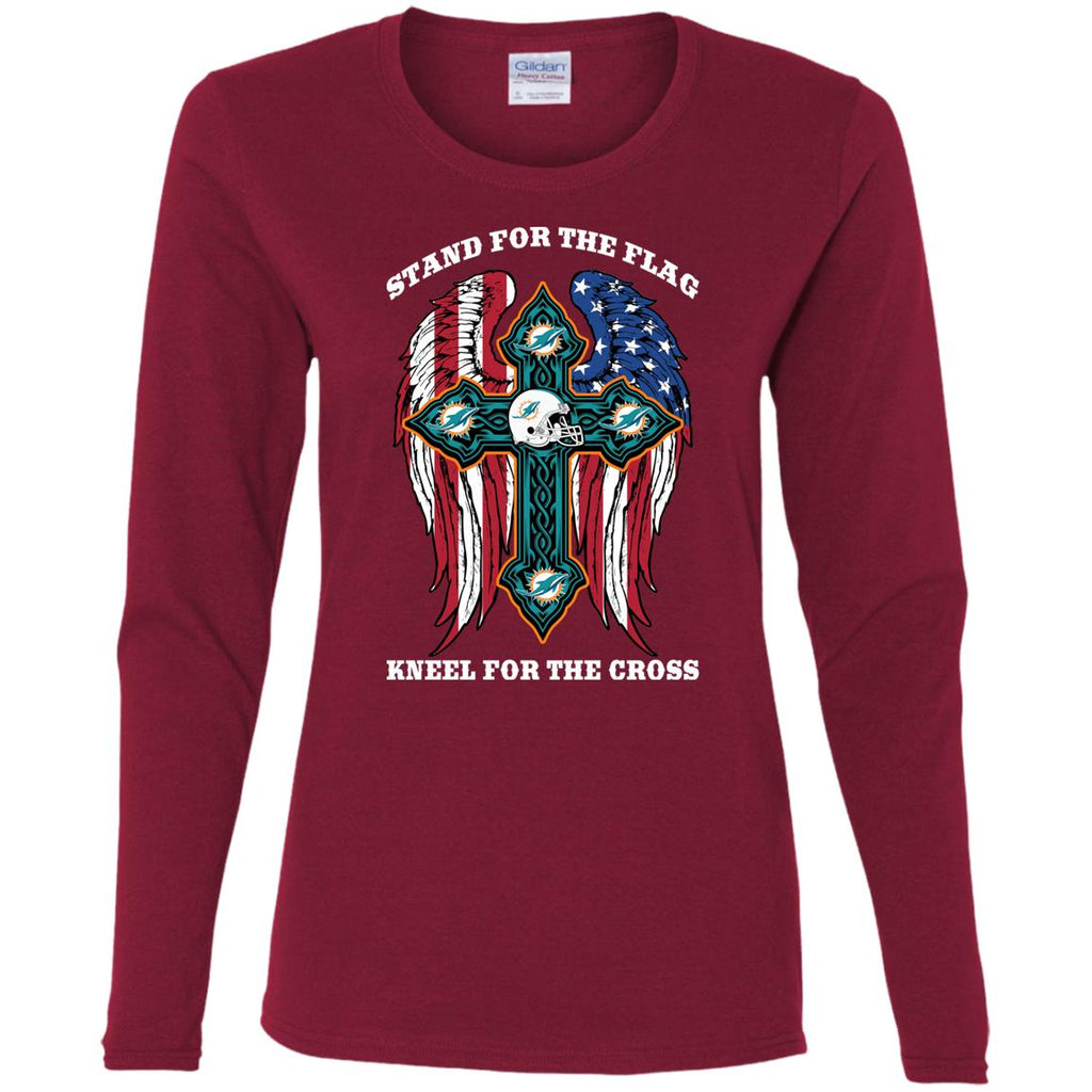 Incredible Stand For The Flag Kneel For The Cross Miami Dolphins Tshirt