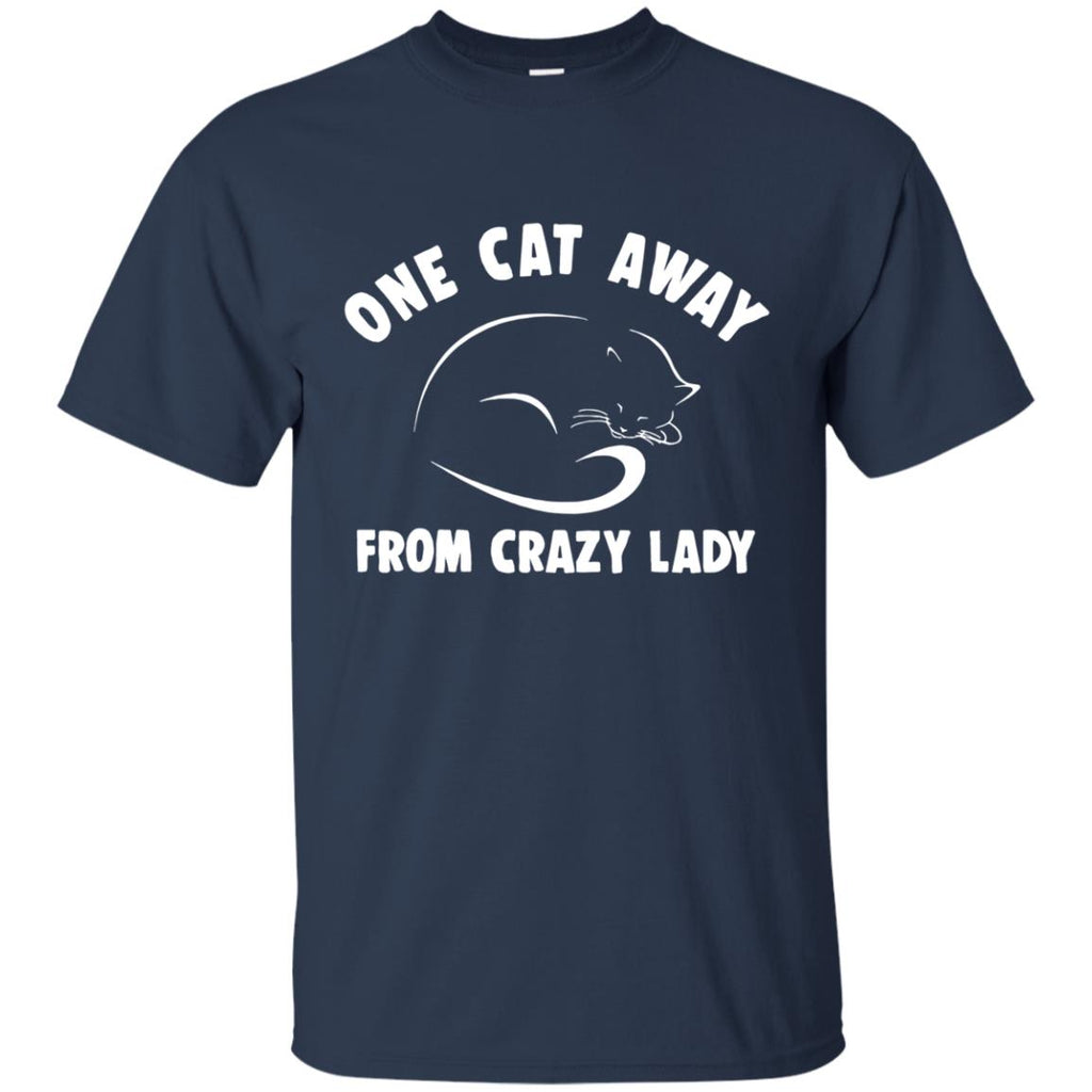 One Cat Away From Crazy Lady Cat Tshirt For Kitten Lover