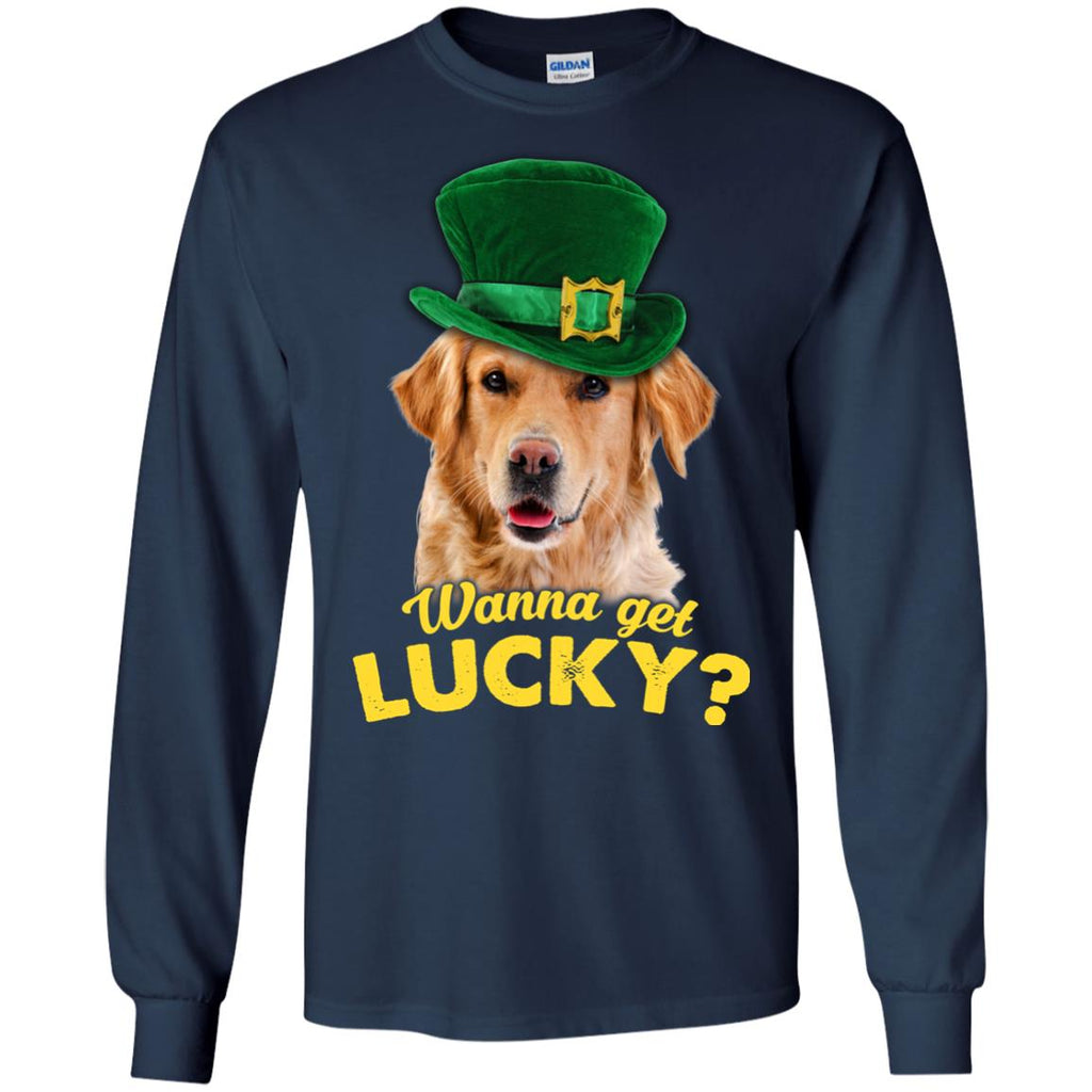 Funny Labrador Tshirt Wanna Get Lucky St. Patrick's Day Lab Dog Gift