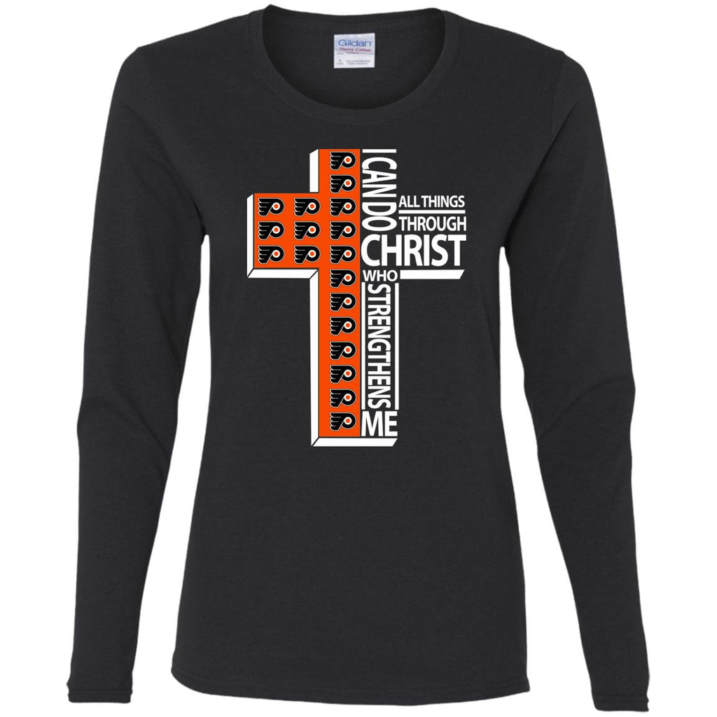 Gorgeous I Can Do All Things Through Christ Philadelphia Flyers T Shirts